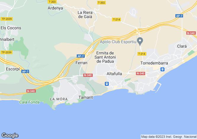Map for Catalonia, Tarragona, Altafulla