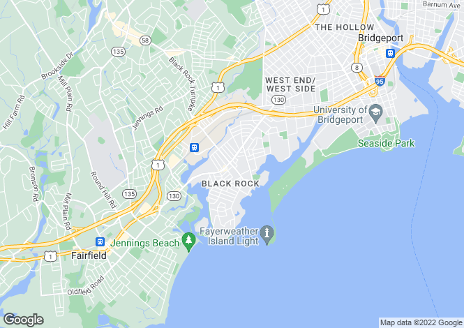Map for USA - Connecticut, Fairfield County, Bridgeport