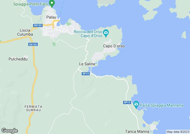 Map for Sardinia, Sassari, Palau