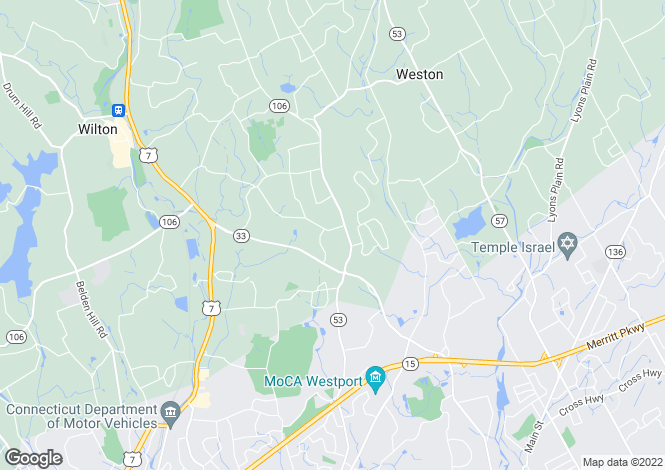 Map for USA - Connecticut, Fairfield County, Wilton