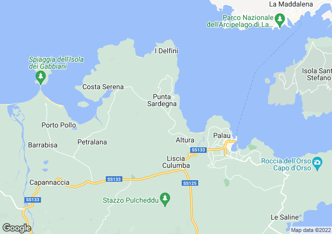 Map for Sardinia, Sassari, Palau