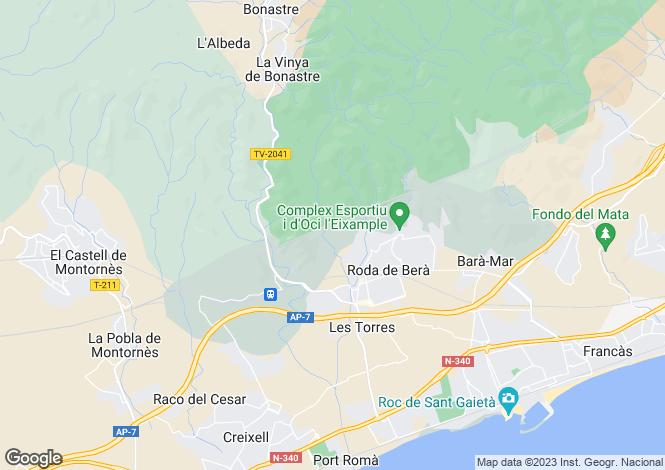 Map for Spain, Cataluña, Tarragona, Roda de Bara