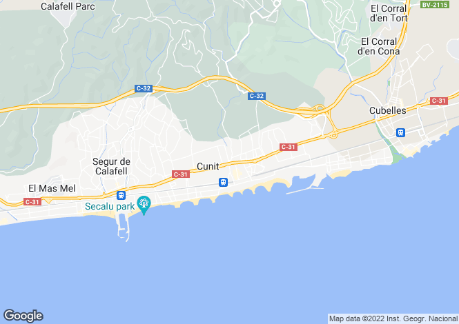 Map for Catalonia, Tarragona, Cunit