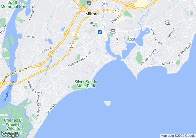 Map for USA - Connecticut, New Haven County, Milford