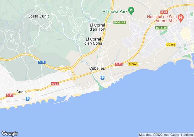 Map for Barcelona Coasts, cubelles, Alrededores