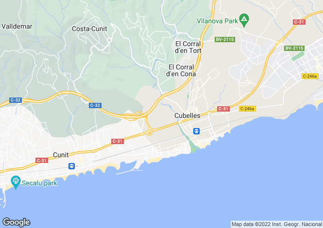 Map for Cubelles, Barcelona, Catalonia