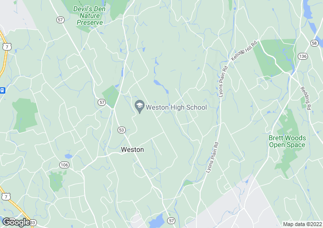 Map for USA - Connecticut, Fairfield County, Weston