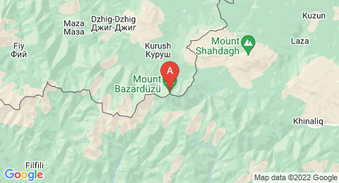 map of Mount Bazardüzü (Russia)