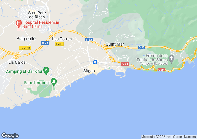 Map for Catalonia, Barcelona, Sitges