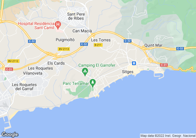 Map for Sitges, Barcelona, Catalonia
