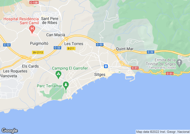 Map for Spain, Barcelona, Sitges, Can Girona / Terramar / Vinyet / Can Pei, SIT8714