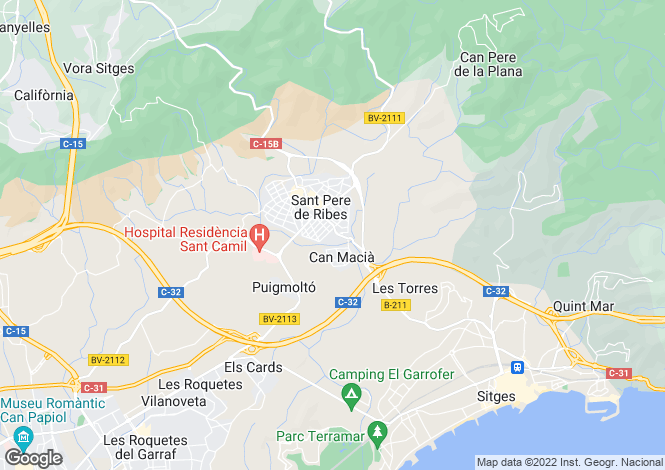 Map for Sant Pere de Ribes, Barcelona, Catalonia