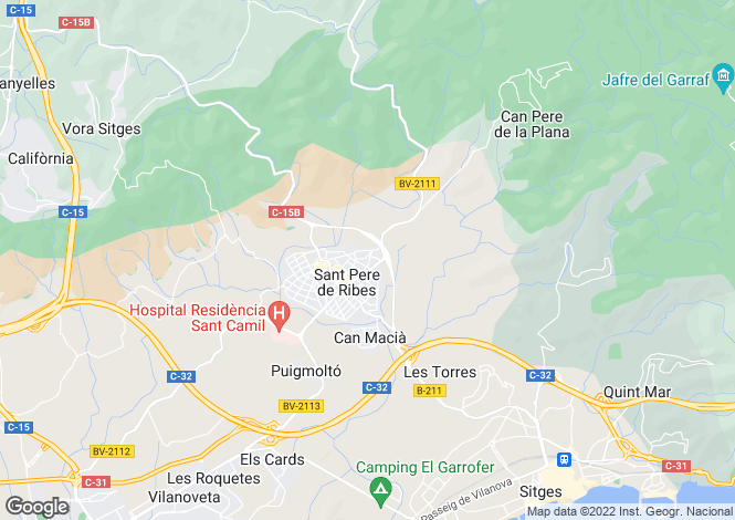 Map for Sant Pere de Ribes, Catalonia, Spain