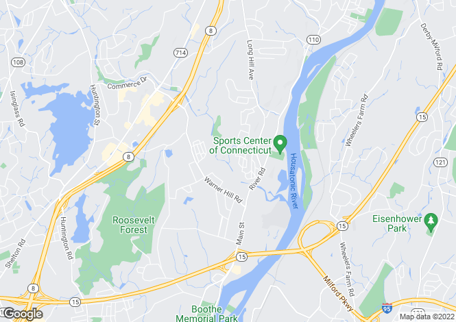 Map for USA - Connecticut, Fairfield County, Shelton