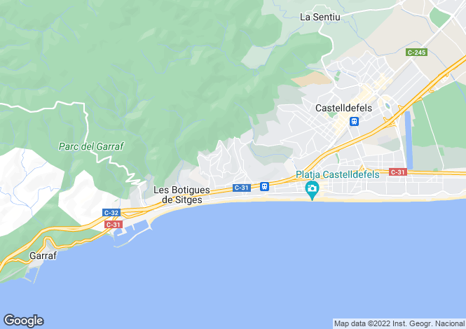 Map for Catalonia, Barcelona, Castelldefels