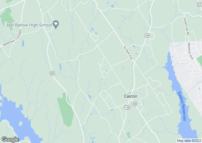 Map for USA - Connecticut, Fairfield County, Easton