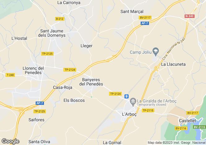 Map for Catalonia, Tarragona, Banyeres del Penedès