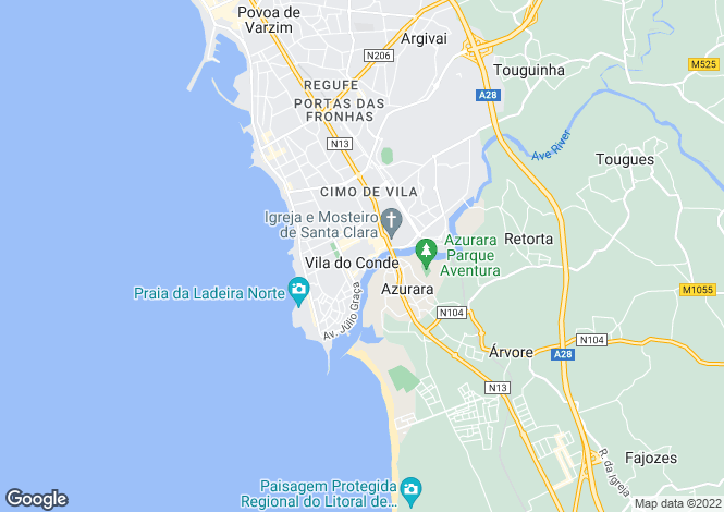 Map for Oporto, Vila do Conde