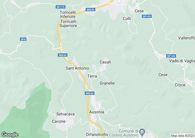 Map for Lazio, Frosinone, Ausonia