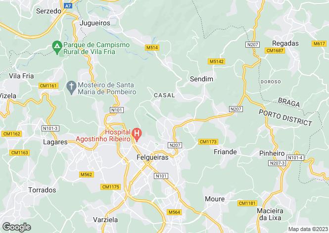 Map for Portugal,Porto,Felgueiras