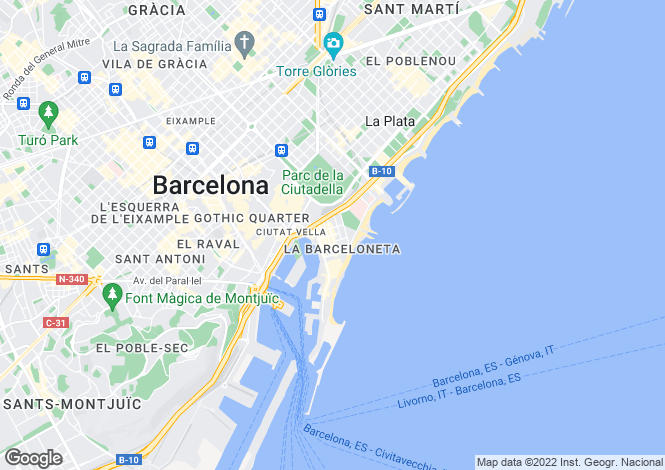 Map for Pinzon Street, Barceloneta District, Barcelona, Spain