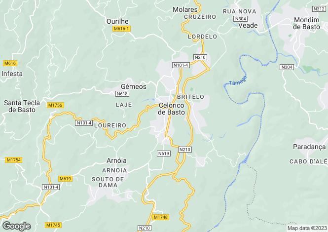 Map for Celorico de Basto, Braga, Portugal