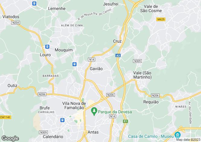 Map for Gavião, Vila Nova de Famalicão, Braga