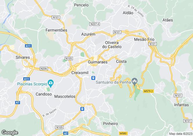 Map for Portugal,Braga,Guimarães