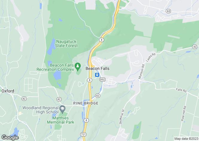Map for USA - Connecticut, Beacon Falls