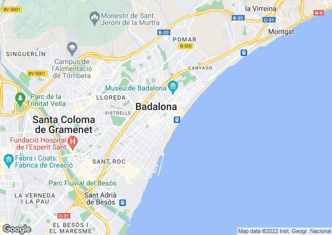Map for Spain, Cataluña, Barcelona, Badalona