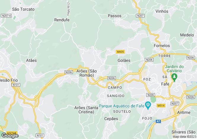 Map for Portugal,Braga,Arões