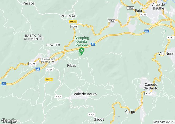 Map for Minho, Celorico de Basto