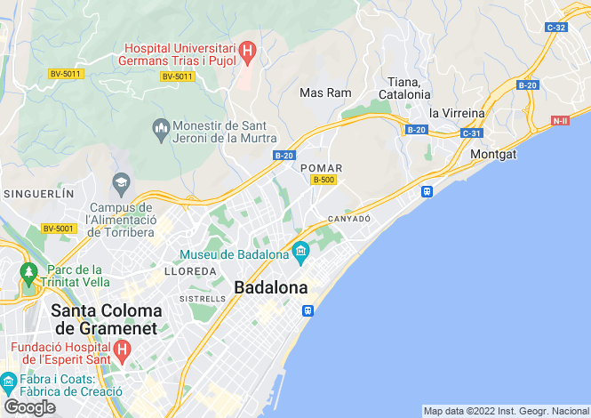 Map for Badalona, Catalonia, Spain