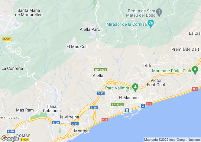 Map for Spain, Barcelona North Coast (Maresme), Alella, MRS2882