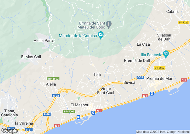 Map for Spain, Barcelona North Coast (Maresme), Teià, MRS1380
