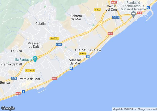 Map for Costa del Maresme, Catalonia, Spain