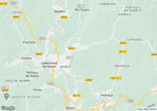 Map for Minho, Cabeceiras de Basto