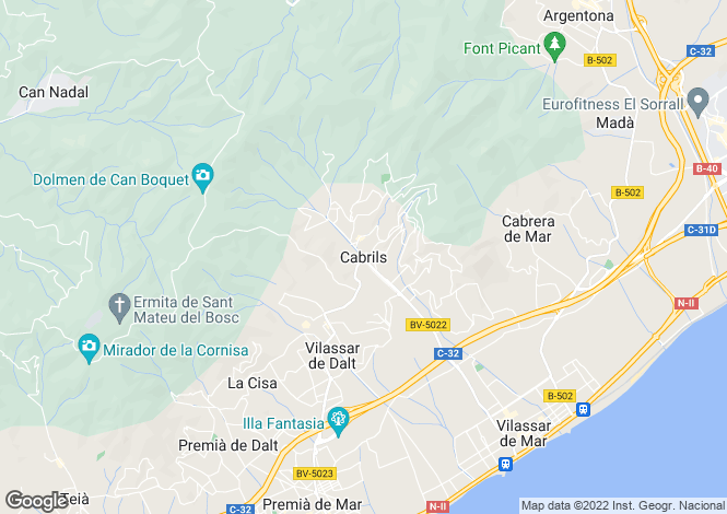 Map for Catalonia, Barcelona, Cabrils
