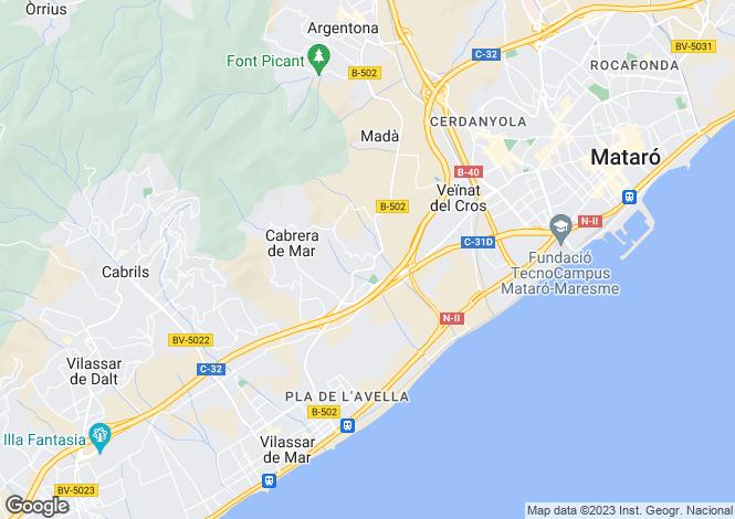 Map for Catalonia, Barcelona, Cabrera De Mar
