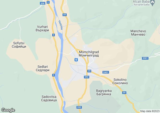 Map for Kurdzhali, Momchilgrad