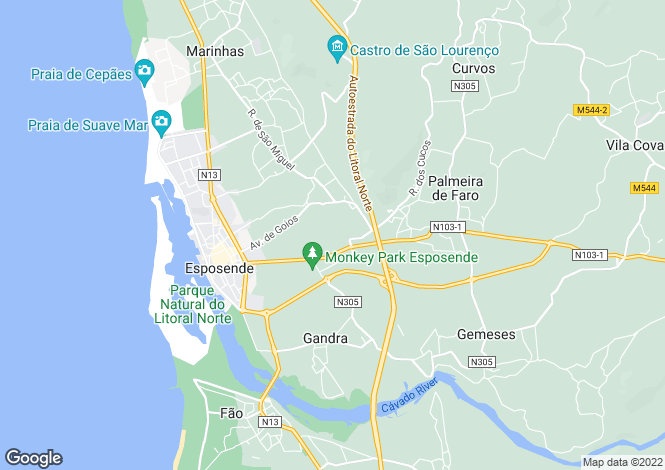 Map for Minho, Esposende