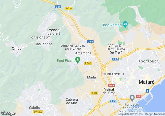 Map for Catalonia, Barcelona, Argentona