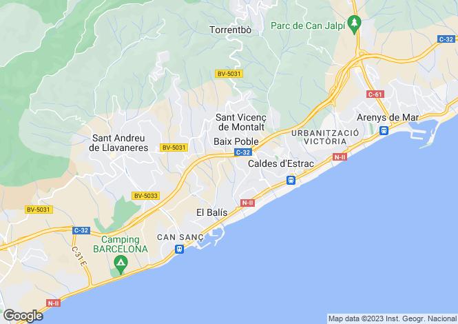 Map for Spain, Barcelona, Maresme Coast, Caldes d'Estrac, MRS20461