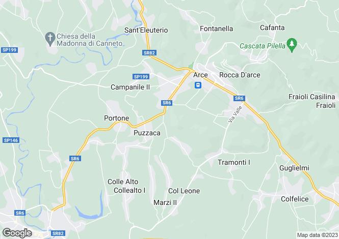 Map for Lazio, Frosinone, Arce