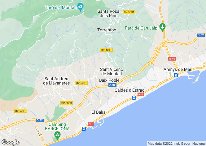 Map for Spain, Barcelona North Coast (Maresme), Sant Andreu de Llavaneres, MRS12767