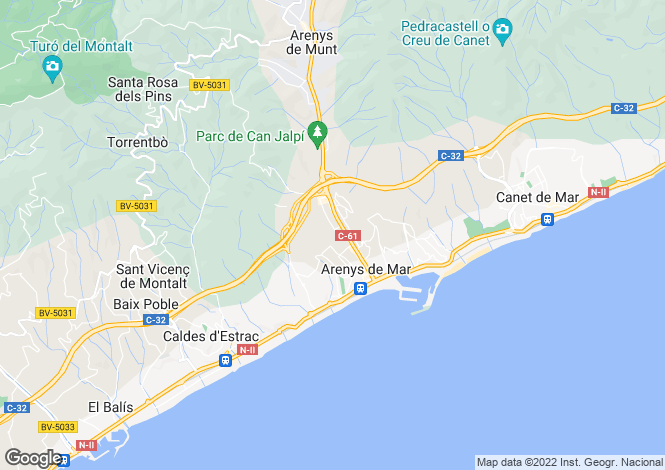 Map for Spain, Barcelona North Coast (Maresme), Arenys de Mar, MRS14439