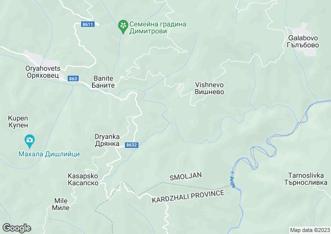 Map for Smolyan, Banite
