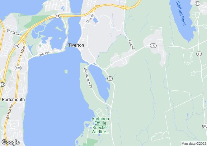 Map for USA - Rhode Island, Tiverton