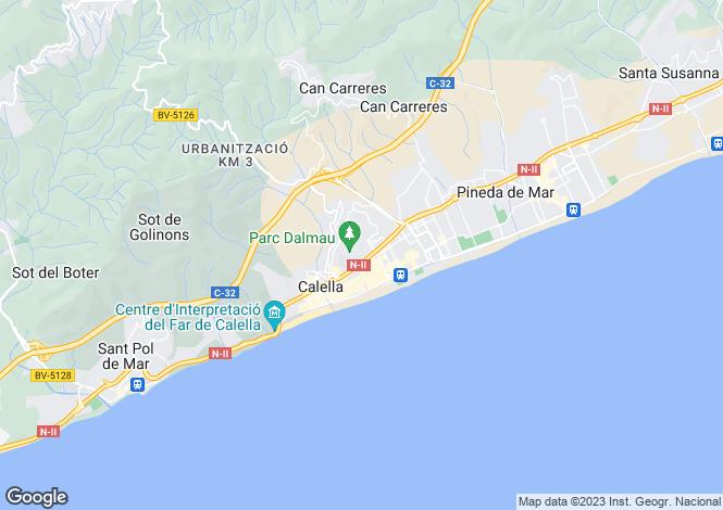 Map for Catalonia, Barcelona, Calella