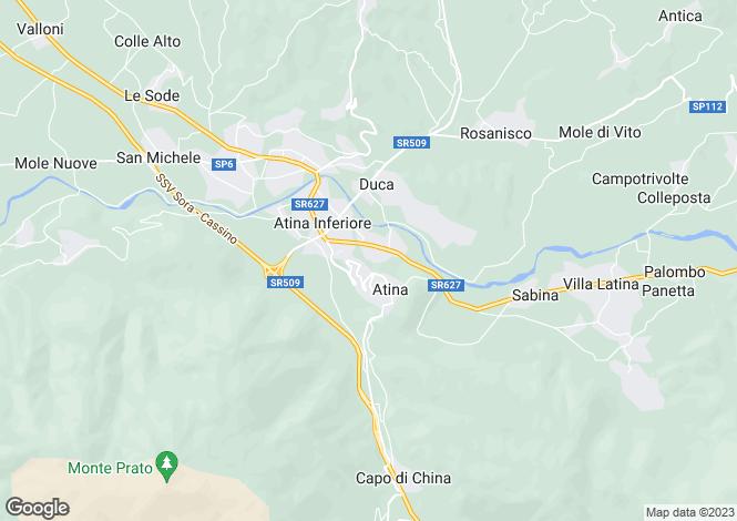 Map for Atina, Frosinone, Lazio